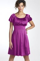 Pleated Charmeuse Dress